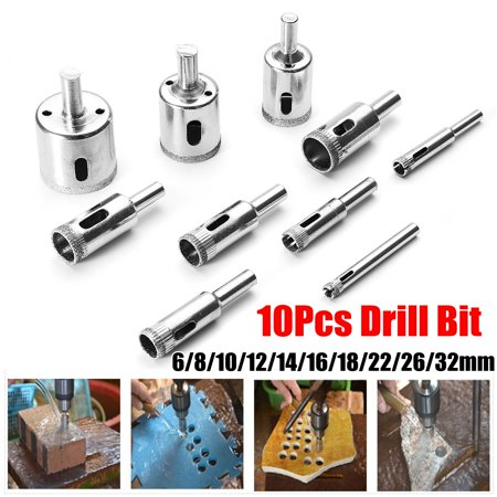 10Pcs 3-50mm Diamond Tool Drill Bit Hole Saw Set For Tile Ceramic Glass Porcelain Marble