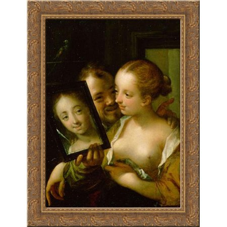 Couple with a mirror 24x18 Gold Ornate Wood Framed Canvas Art by Hans von Aachen