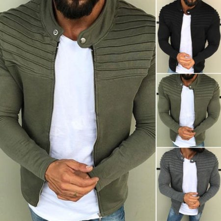 Collar Mens Outerwear (Men´s Winter Zip up Slim Collar Jacket Tops Long Sleeve Casual Coat Outerwear M-3XL)