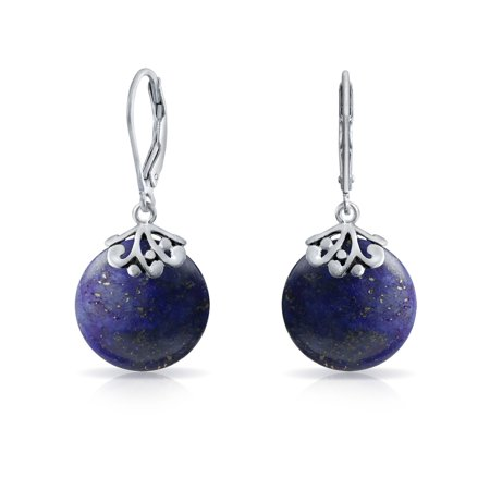 - Bali Style Gemstone Round Disc Filigree Drops Leverback Dangle Earrings For Women 925 Sterling Silver More Colors