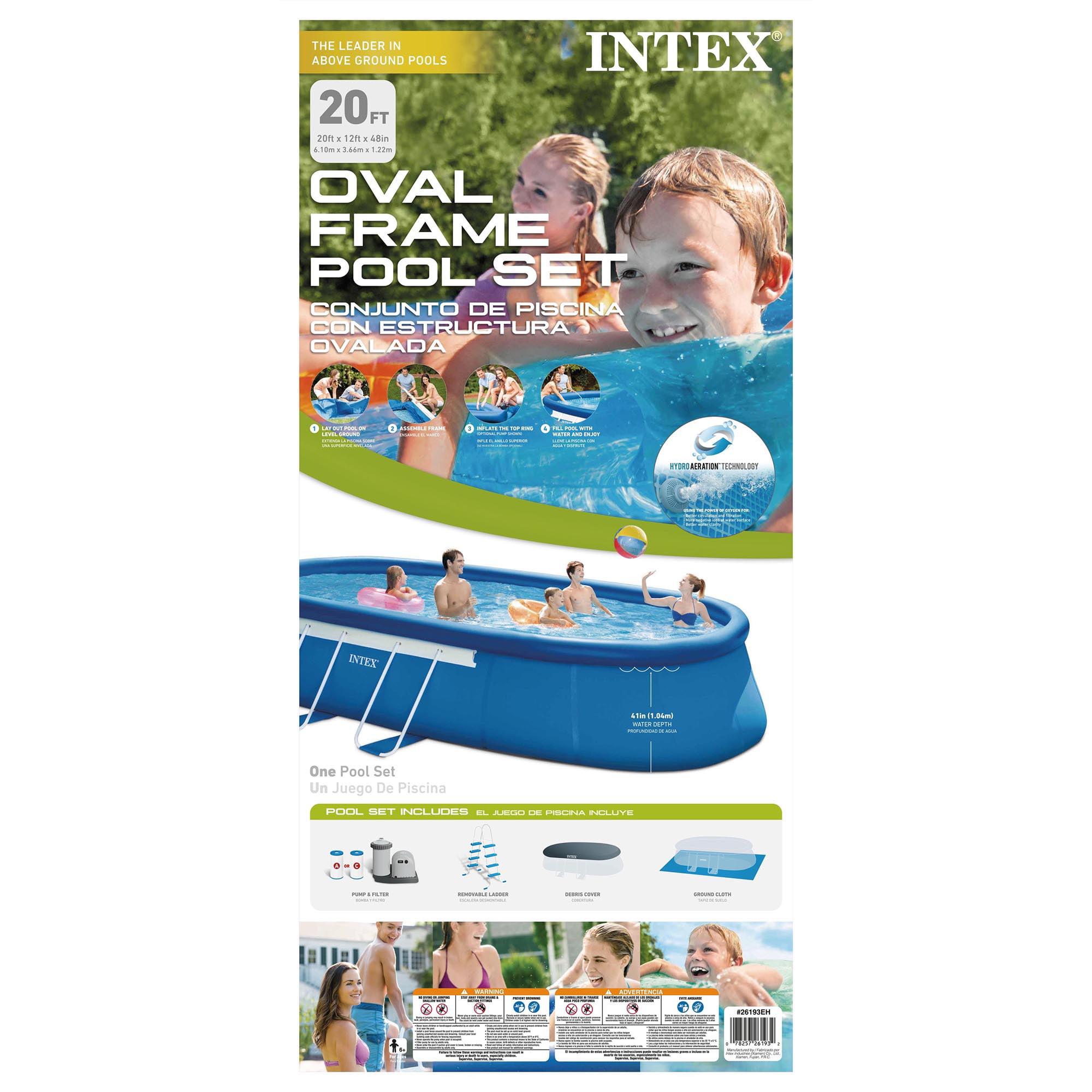 Intex - Oval Frame Pool Set with Filter, 20 Feet x 12 Feet x 48 ...