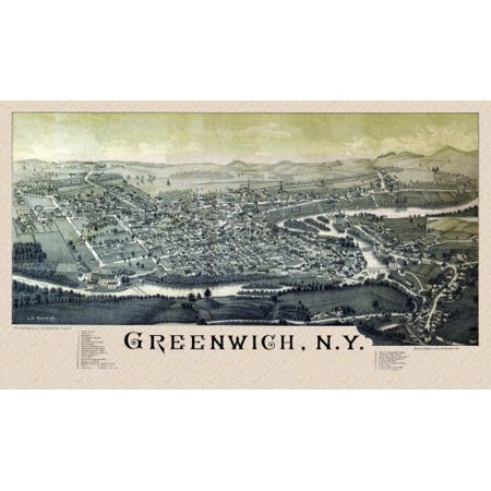 Old Map of Greenwich New York 1885 Washington County Canvas Art -  (18 x 24)