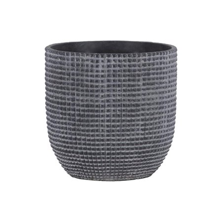 Cement Engraved Square Lattice Design Pot With Tapered Bottom, Large, Dark Gray ()
