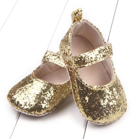 4f6765f3ec20 Toddler Girl Soft Sole Crib Shoes Sequins Sneaker Baby Shoes GD/12 -  Walmart.com