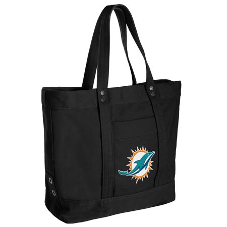 Miami Dolphins Women's High End Canvas Tote - No Size Nfl Canvas Tailgate Tote