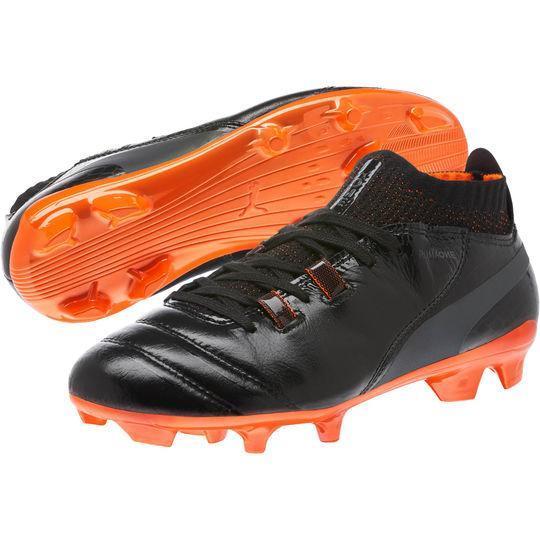 Men's Puma Black Orange Soccer One Lux FG Boots by Puma