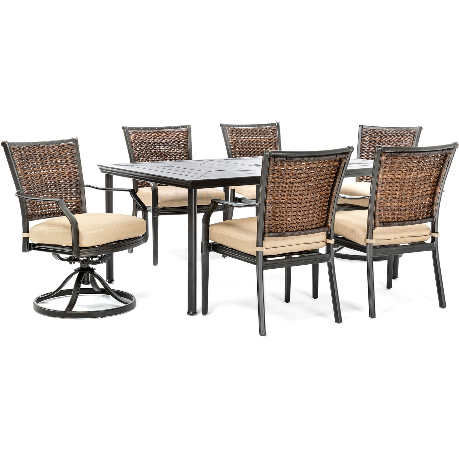 Breckenridge 4 Piece Patio Furniture Set Two Swivel: Hanover Mercer 7-Piece Patio Dining Set In Country Cork