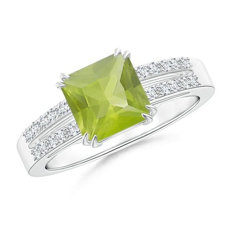 August Birthstone Ring - Solitaire Emerald-Cut Peridot Split Shank Ring in Platinum (7mm Peridot) - SR1060PD-PT-AA-7-12.5