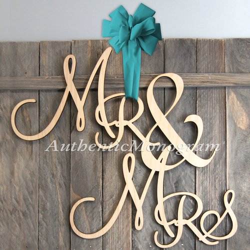 aMonogram Art Unlimited Mr and Mrs Painted Wooden Monogram Wall Decor