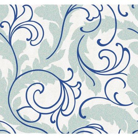 Blue Scroll Wallpaper (York Wallcoverings WallpapHer WH2653 Serpentine Scroll Wallpaper, Blue)