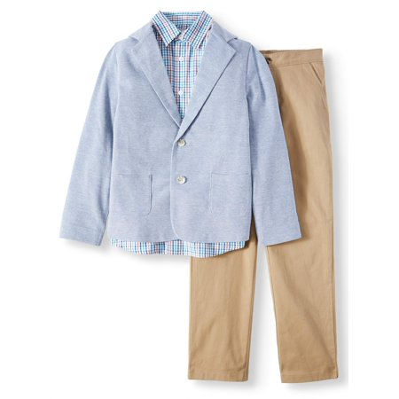 Dressy Sportswear Set with Knit Blazer, Plaid Shirt, and Twill Pull-On Pants, 3-Piece Outfit Set (Little Boys & Big - Eazy E Outfit