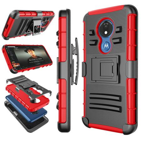 Motorola Moto G7 Optimo Maxx XT1955DL / Optimo XT1952DL Cases Holster Belt Clip, Tekcoo Shock Absorbing Swivel Locking Belt Defender Full Body Kickstand Armor Case Cover