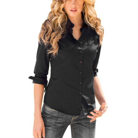 Esho Women Casual Roll-Up Long Sleeve Work Blouse Button Down OL Shirt Top