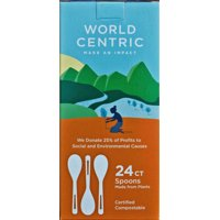World Centric Compostable Wheat Straw Spoons, 24 Count