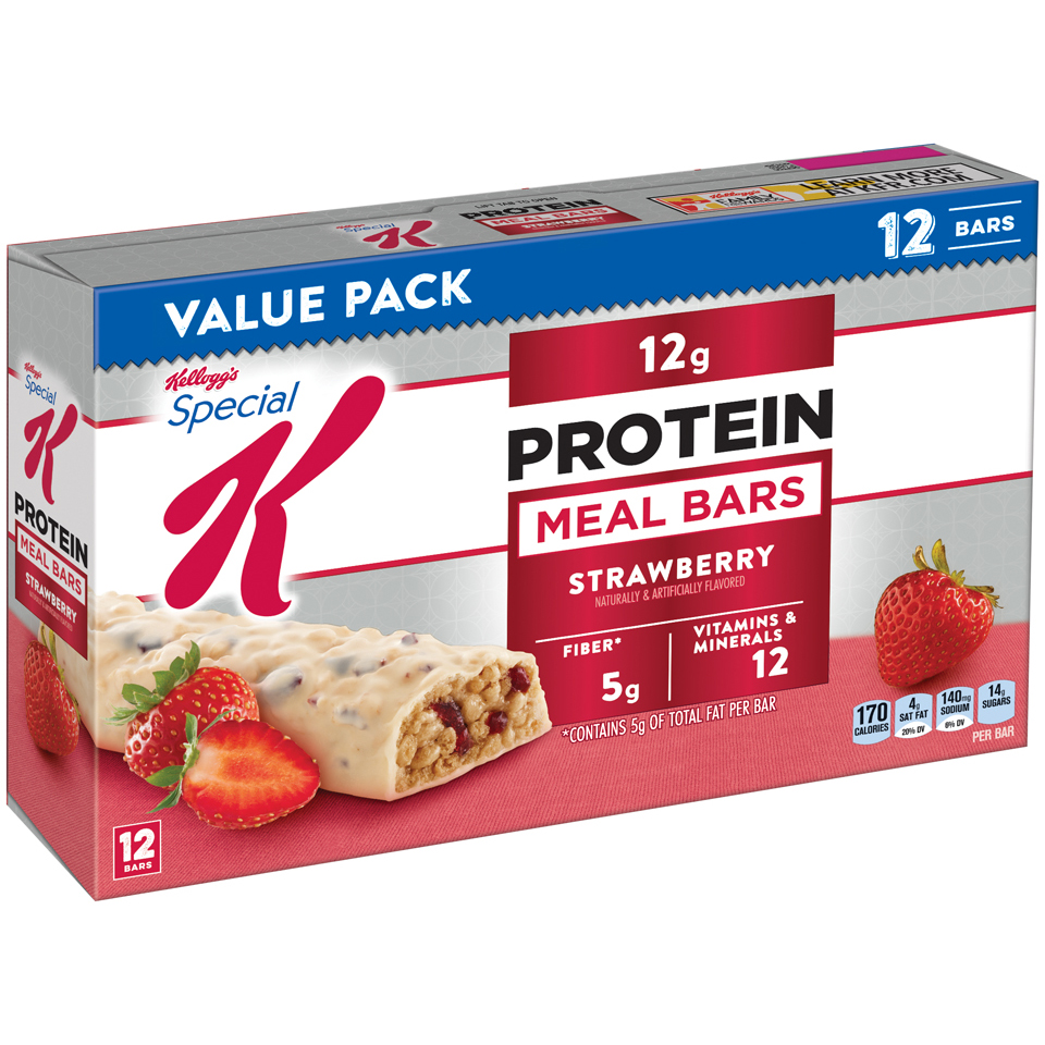 Kellogg's Special K Protein Meal Bar, Strawberry, 12g Protein, 12 Ct