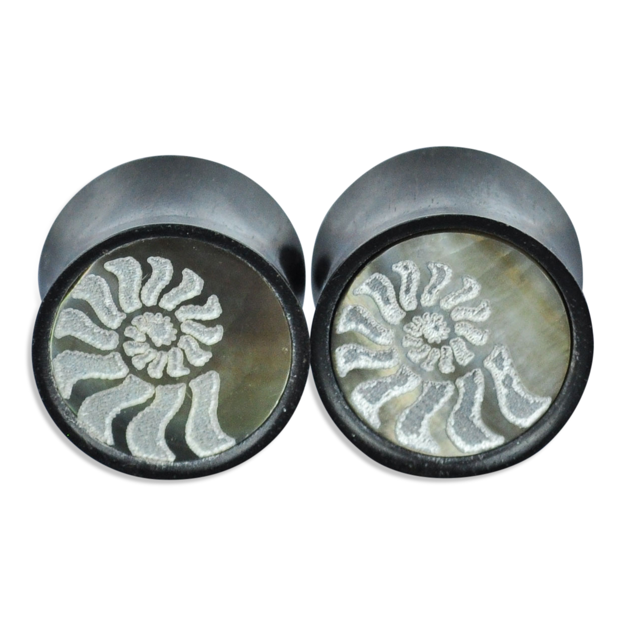 Iron Wood Plugs with Shell Inlay Ear Gauges