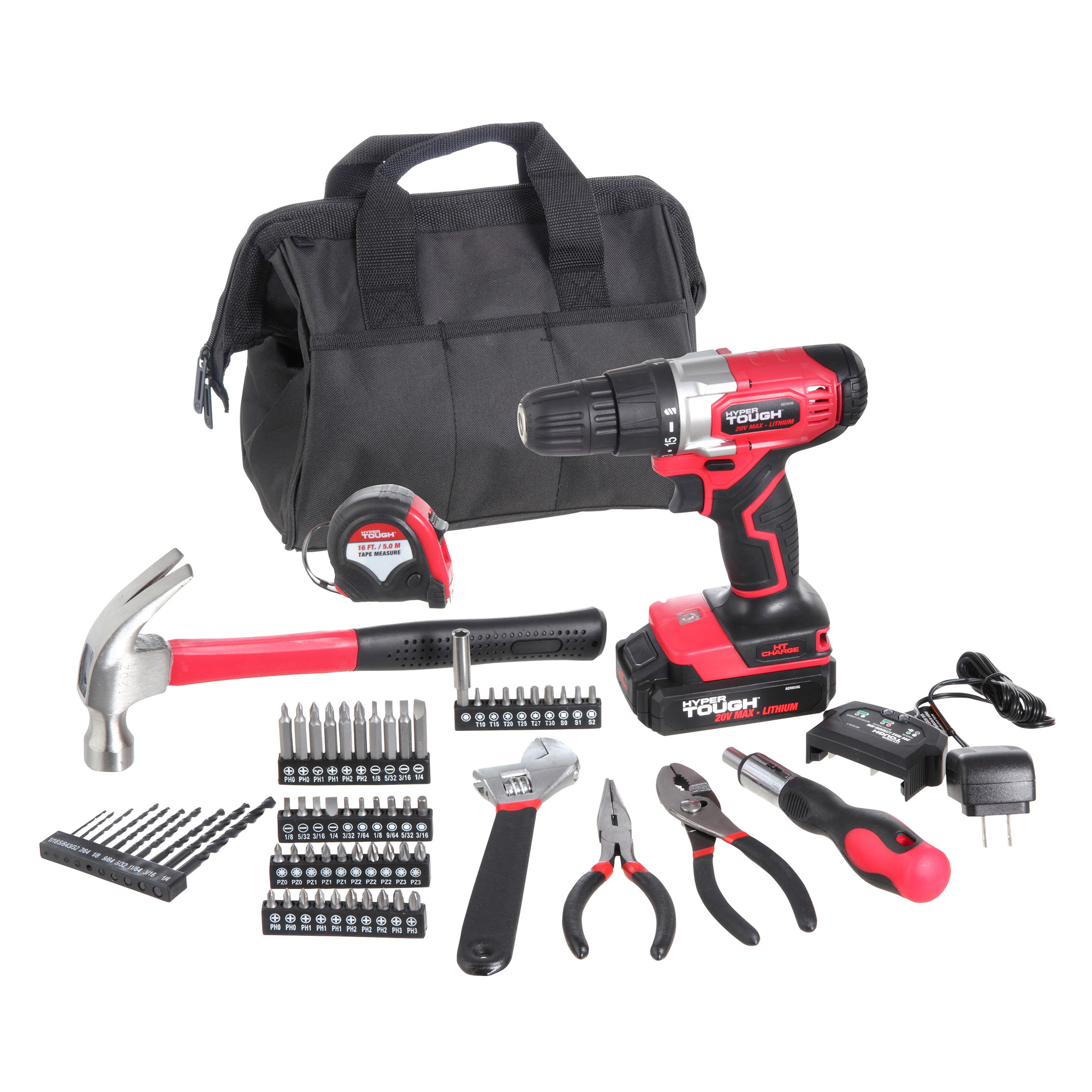Hyper Tough 20V Max 3/8-in. Cordless Drill & 70-Piece DIY Home Tool Set Project Kit w/1.5Ah Lithium-Ion Battery & Charger, Bit Holder, LED Work Light & Storage Bag - Walmart.com