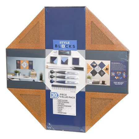 - Style Blocks 30 Piece Value Pack - Magnetic Chalk Boards and Dry Erase Boards - Plus 4 Cork Triangles