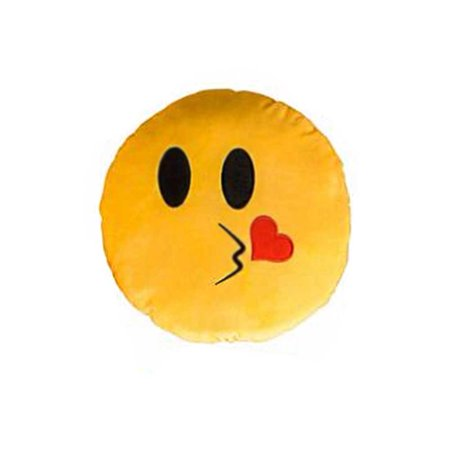 Kiss Face Yellow Emoji Pillow Smiley Plush Cushion Cell Phone Emoticon Toy Kissy - Smiley Face Cushion
