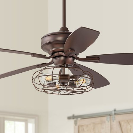 52 Casa Vieja Vintage Ceiling Fan With Light Led Edison Oil Brushed Bronze Cage Reversible Blades For Living Room Kitchen Bedroom
