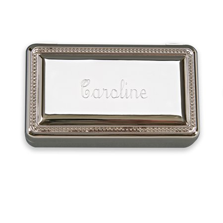 Silver Plated Gift Box (Personalized Monogrammed Gift Boxed Nickle Plated Silver Toned Jewelry Box)