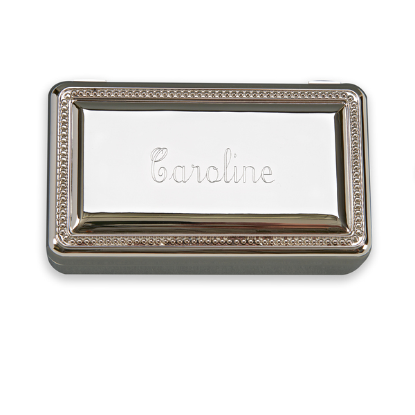 Personalized Monogrammed Gift Boxed Nickle Plated Silver Toned Jewelry Box