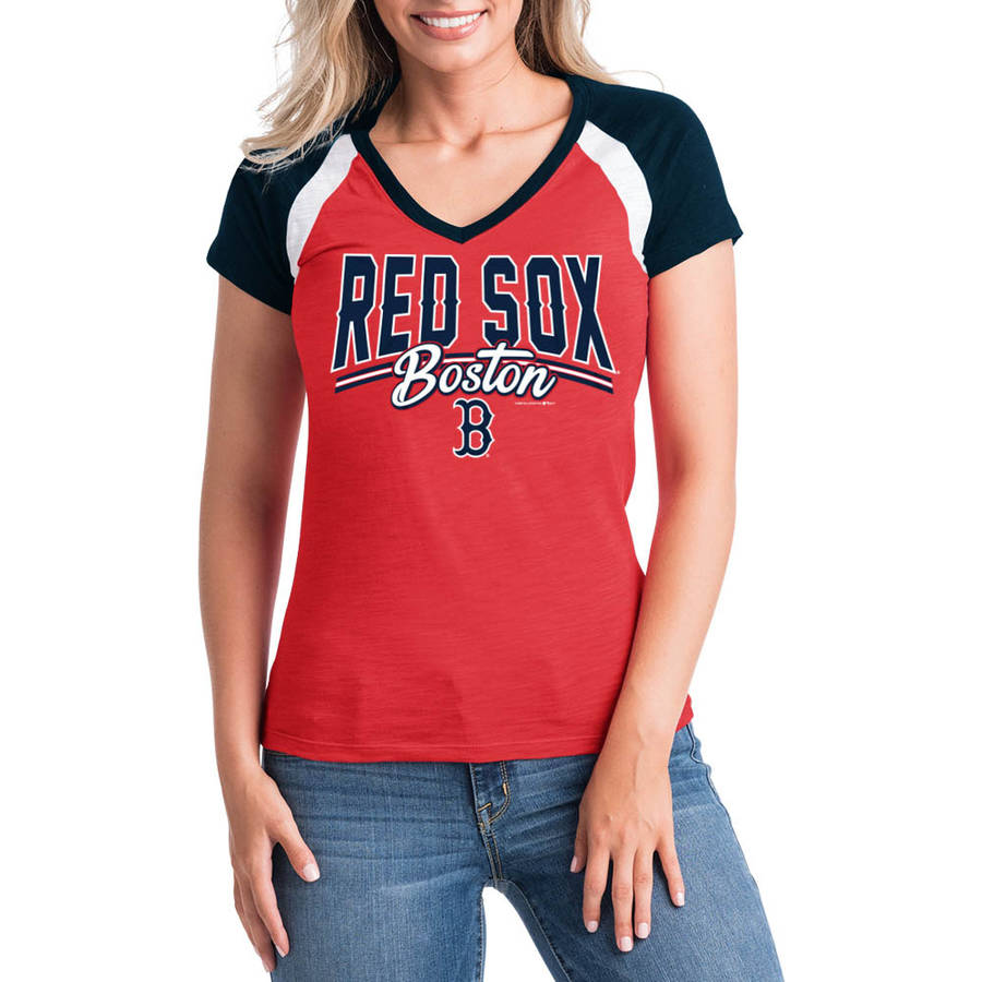 MLB Boston Red Sox Women's Short Sleeve Team Color Graphic Tee