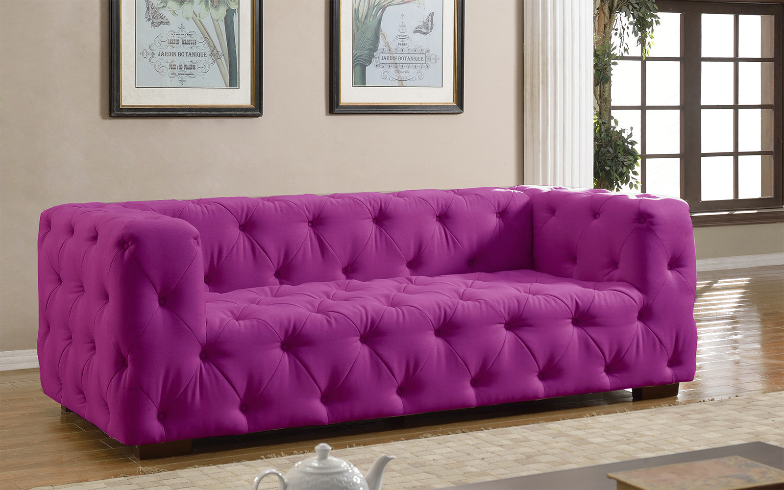 Luxurious Modern Large Tufted Linen Fabric Sofa   Walmart.com
