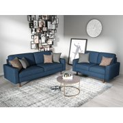 US Pride Furniture Elvin 2 Piece Linen Fabric Living Room Set, Sofa & Loveseat, Dark Blue