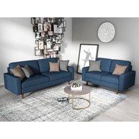 US Pride Furniture Elvin 2 Piece Linen Fabric Living Room Set, Sofa & Loveseat, Dark Blue