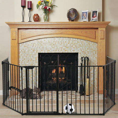 Jaxpety Fireplace Fence Baby Safety Fence 6 Panel Hearth Gate Pet Gate Guard Metal Plastic Screen, Black