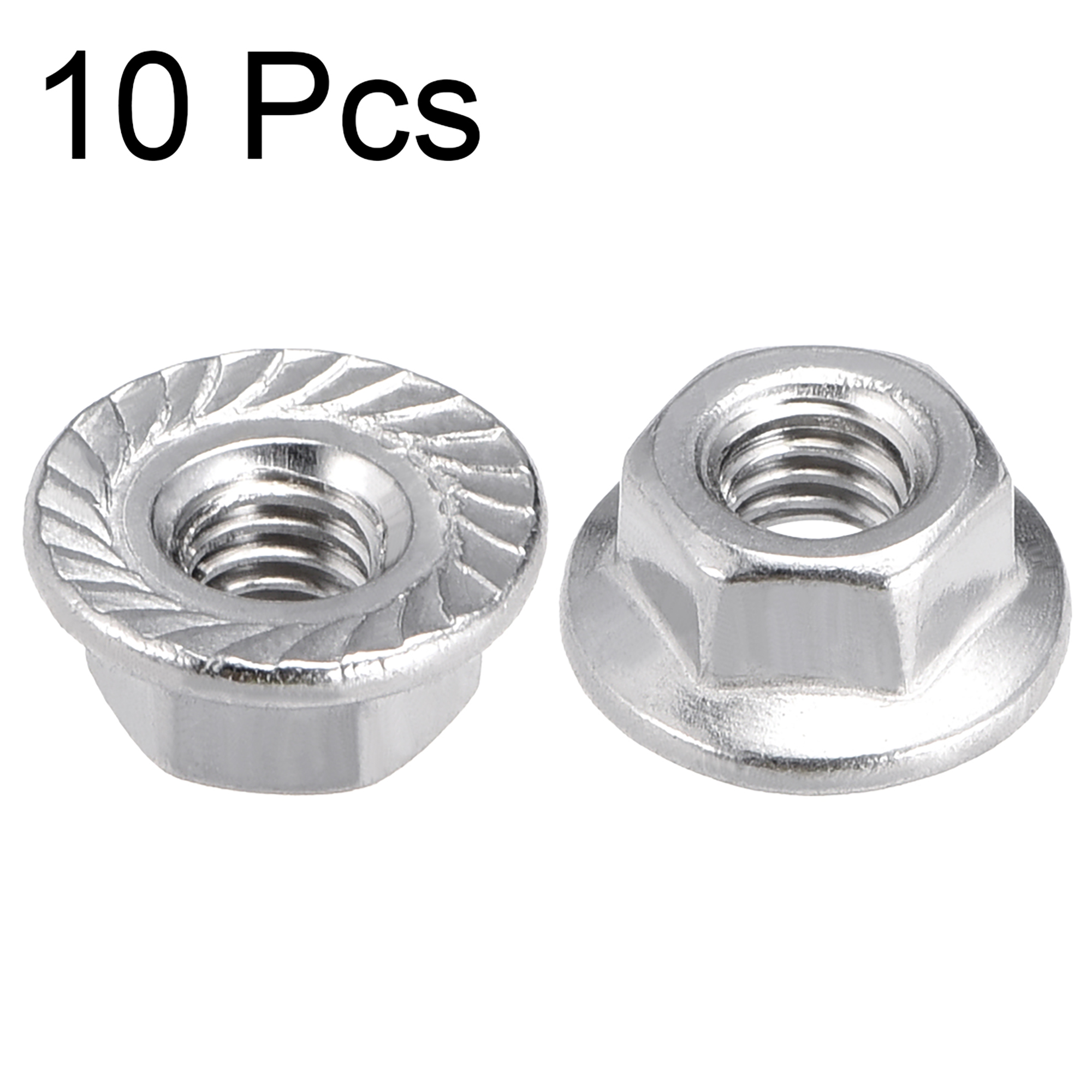 M4 Serrated Flange Hex Lock Nuts, 316 Stainless Steel, 10 Pcs - image 2 de 3