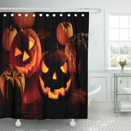 PKNMT Orange Scary Halloween Pumpkin Yellow October Party Head Lantern Shower Curtain 60x72 inches