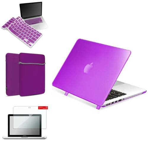 """Insten Purple Rubberized Hard Case for Macbook Pro 13"""" Retina Display+Screen Protector Guard Cover/Keypad/Sleeve"""