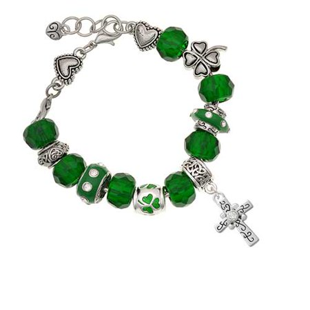Silvertone Scroll Cross with Clear Crystal Green St. Patrick's Day Bead Bracelet (Diy Scroll)