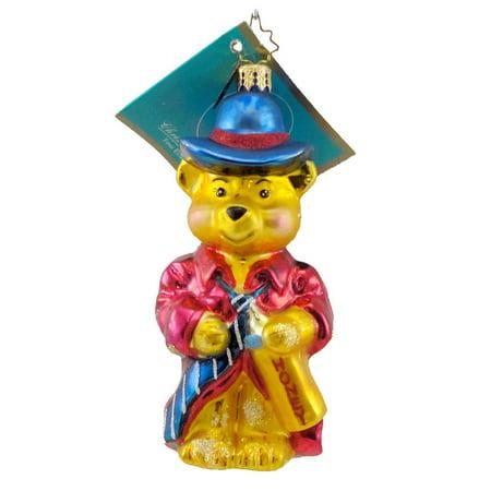 Christopher Radko ALL GROWN UP Blown Glass Ornament Teddy Bear Tie Dad