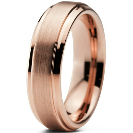 Tungsten Wedding Band Ring 6mm for Men Women Comfort Fit 18K Rose Gold Plated Plated Beveled Edge Brushed Polished Lifetime Guarantee ()