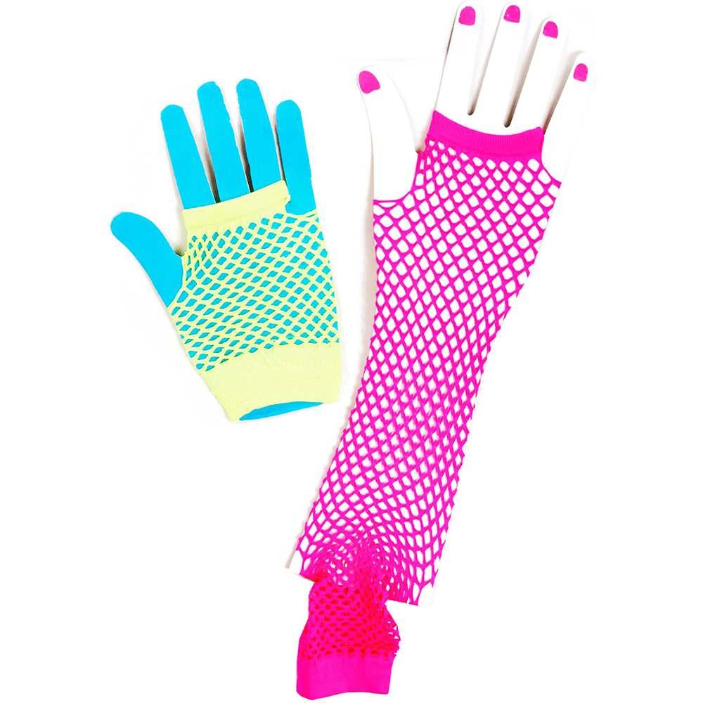 Neon Green & Pink Fingerless Fishnet Gloves