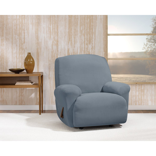 Stretch Morgan 1-Piece Recliner Furniture Cover, Storm Blue