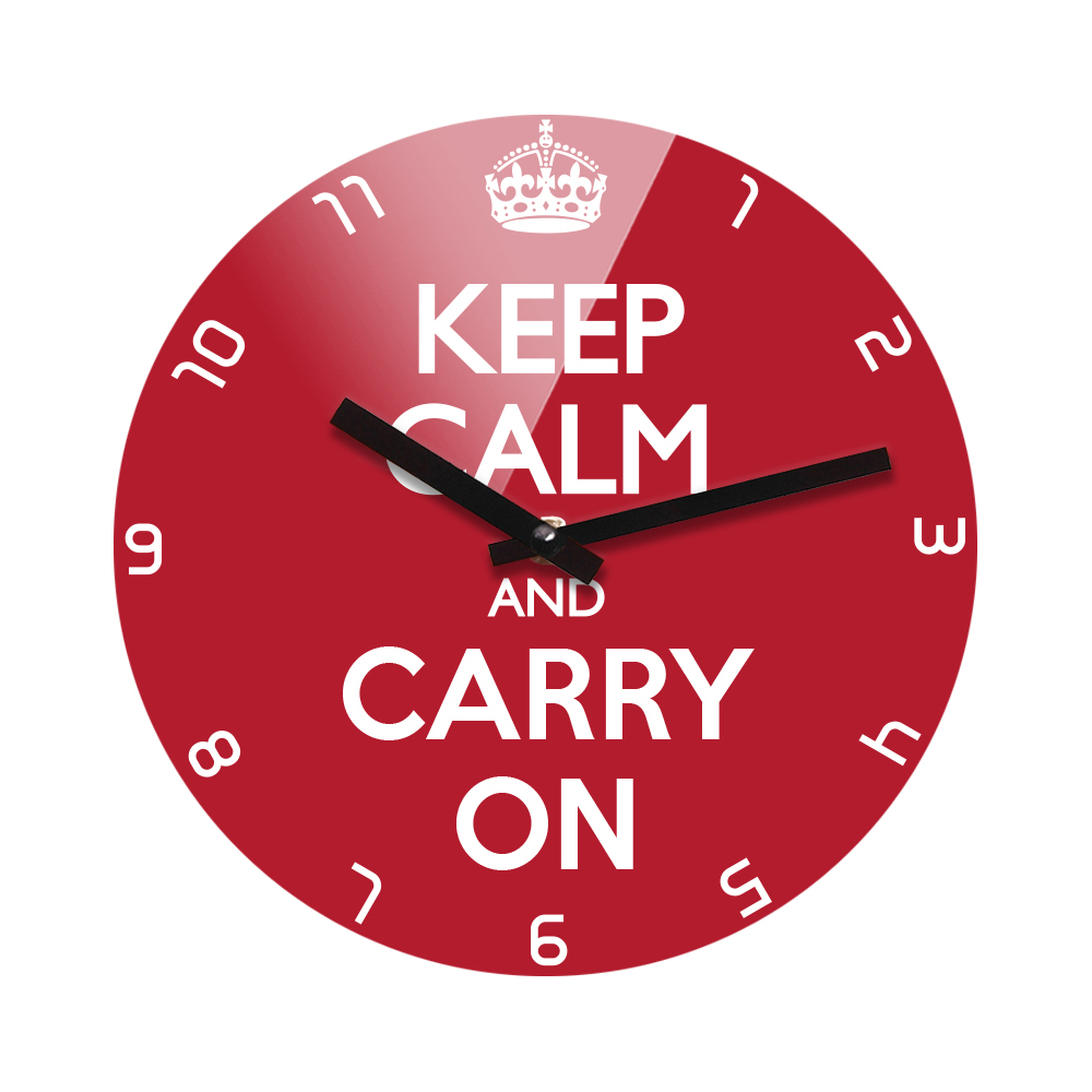Reflex Non-Ticking Silent Acrylic Wall Clock Small - Keep Calm and Carry On (Red)