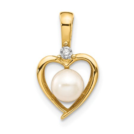 - 14K Yellow Gold Diamond and Pearl June Birthstone Heart Charm Pendant