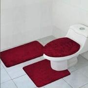3 Piece Quinn Solid Bathroom Rug Set Bath Mat Contour Toilet Lid Cover