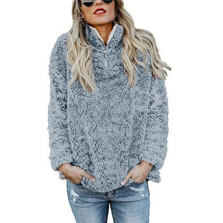 Women Fleece Fluffy Fuzzy Shaggy Ladies Sweater Plain Pullover Blouse Jumper Top