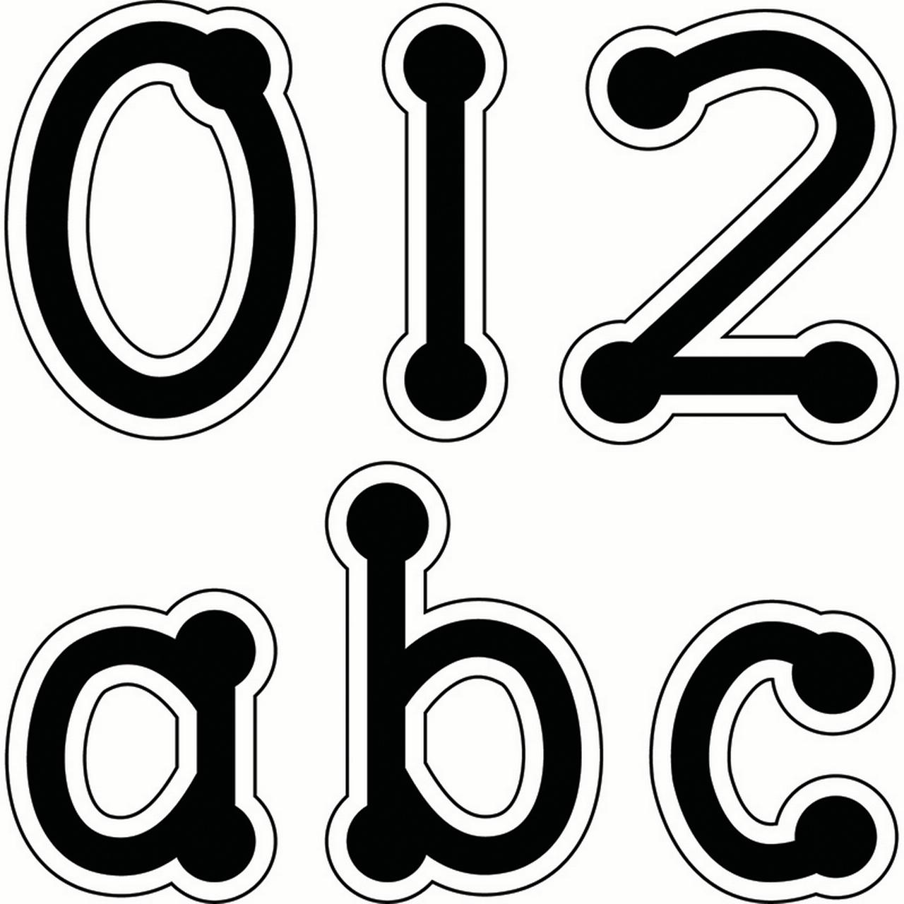 BLACK DOT-TO-DOT LOWERCASE LETTERS STICKERS
