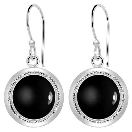 8 Carat Cushion Briolette Black Onyx Sterling Silver Dangle Earrings