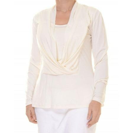 Eci NEW White Ivory Women's Size Large L Long-Sleeve Draped Blouse