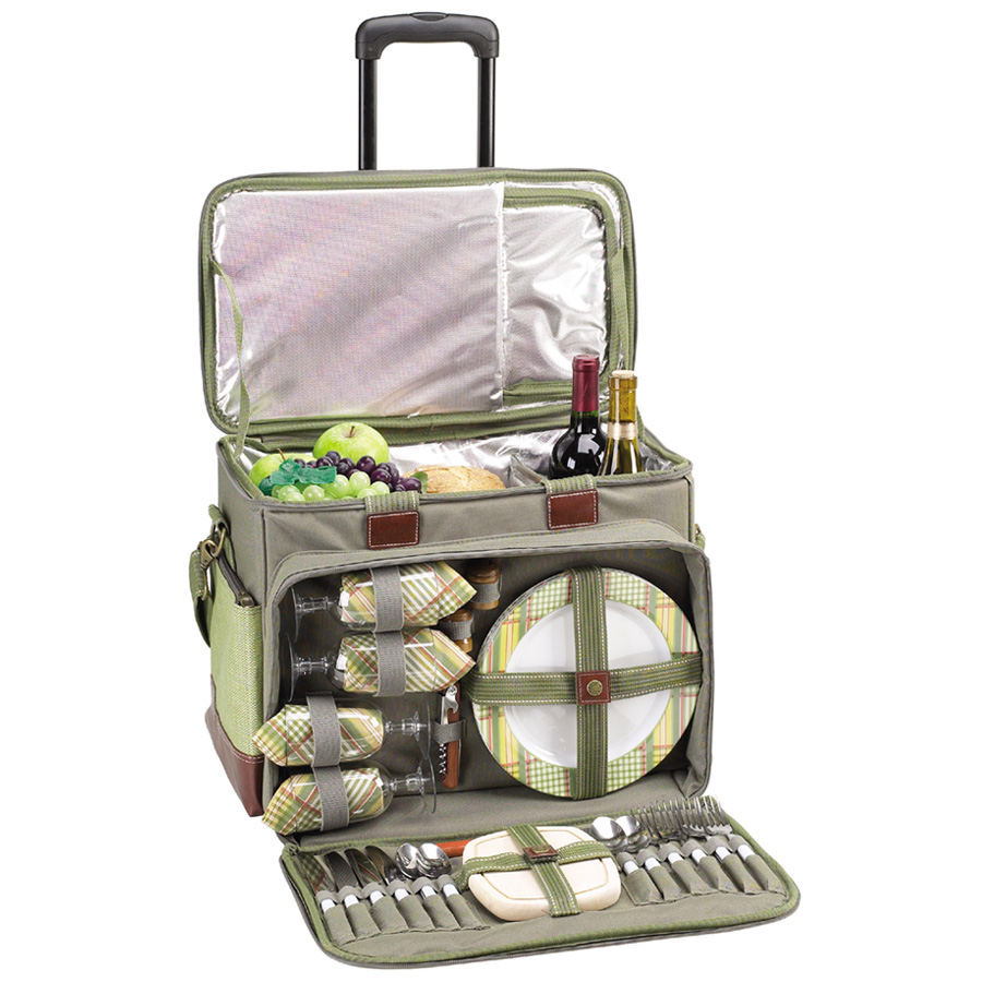 Picnic at Ascot Hamptons Picnic  Cooler for 4 on Wheels (259-H)