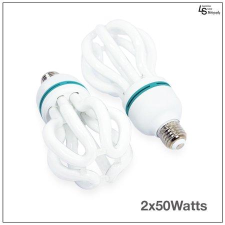 50w Cfl (Loadstone Studio 2 pcs x 50W Full Spectrum Light Bulb Photography Photo CFL 5500K, Daylight balanced pure white light, WMLS1612)