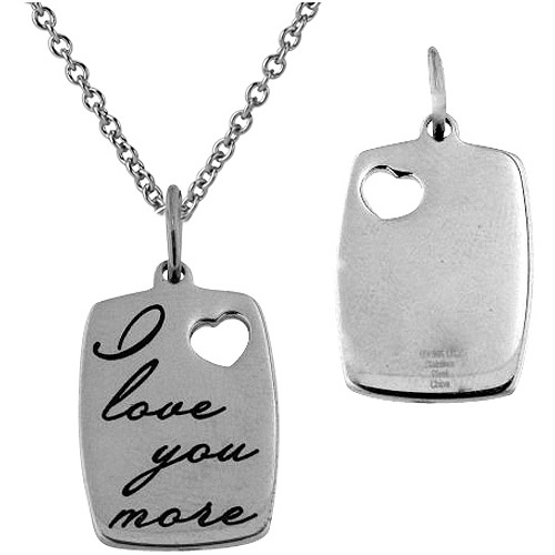 "Connections from Hallmark Stainless Steel ""I Love You More"" Dog Tag Pendant, 18"
