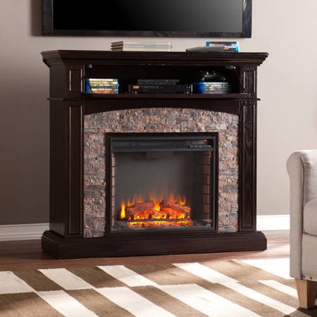 Southern Enterprises Karina Corner Media Electric Fireplace Console with Faux Stone, for TV;s up to 42;, Ebony